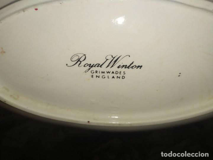 Antigüedades: ROYAL WINTON PRECIOSA BANDEJA PLATO DECORADO ORO FLORES CENTRO MESA UNICO - Foto 10 - 186180362