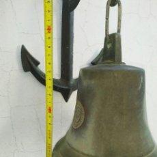 Antigüedades: CLASICA CAMPANA BRONCE TEMPLADO NAUTICA LLAMADOR CON ANCLA, DECORACION, CASA RURAL. Lote 186223565