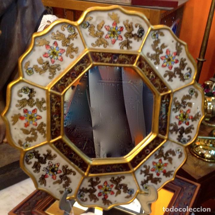 Antigüedades: Espejo Artesanal 36CM - Foto 3 - 186223583