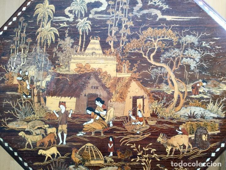 Antigüedades: Antigua mesa octogonal India con marquetería e incrustaciones - Foto 2 - 186230392