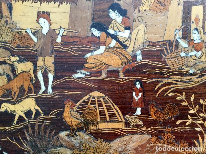 Antigüedades: Antigua mesa octogonal India con marquetería e incrustaciones - Foto 3 - 186230392