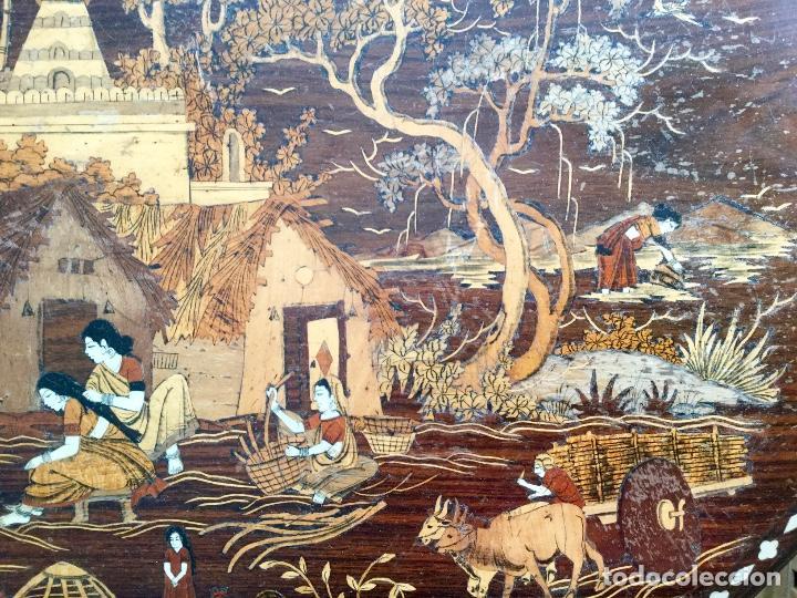 Antigüedades: Antigua mesa octogonal India con marquetería e incrustaciones - Foto 4 - 186230392