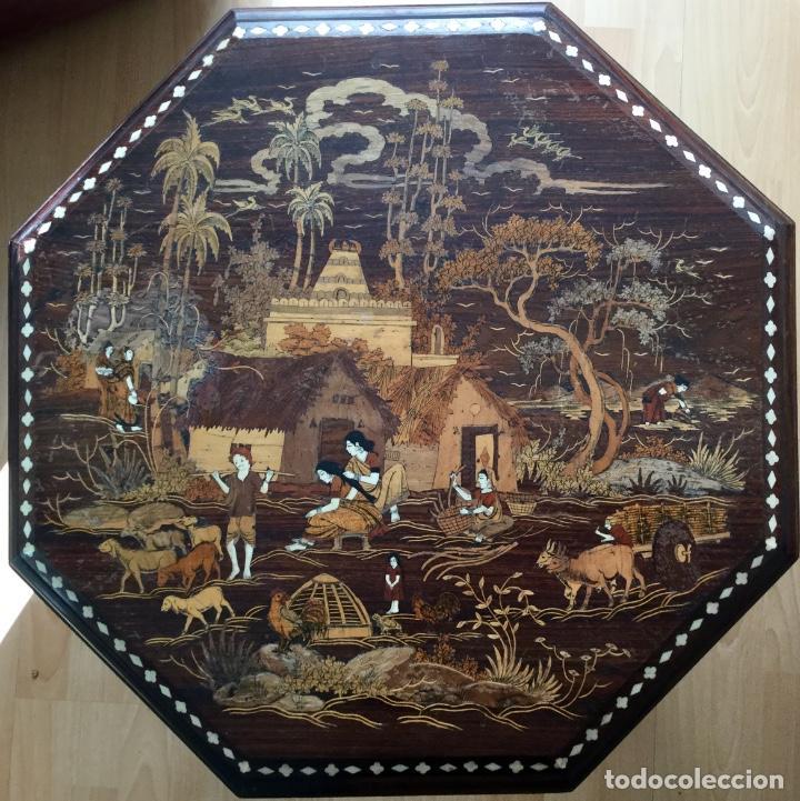 Antigüedades: Antigua mesa octogonal India con marquetería e incrustaciones - Foto 6 - 186230392