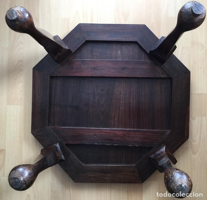Antigüedades: Antigua mesa octogonal India con marquetería e incrustaciones - Foto 8 - 186230392