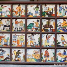 Antigüedades: AZULEJOS DE OFICIOS SIGLO XX, ENMARCADOS. 12,5 X 12,5 CM. Lote 186305908