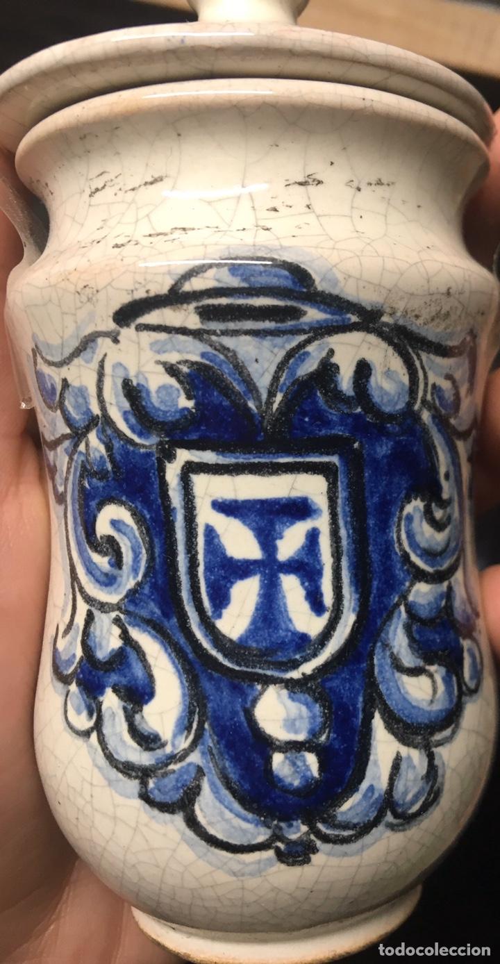 PEQUEÑO TARRO DE FARMACIA TALAVERA (Antigüedades - Porcelanas y Cerámicas - Talavera)