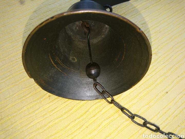 Antigüedades: CAMPANA ANTIGUA BRONCE 11cm DIAMETRO. CUELGA FLEJE FORJA. SONIDO SIN ROTOS NI GRIETAS ACUSTICAS. - Foto 14 - 186343653