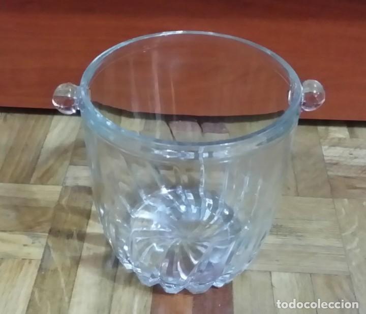 Antigüedades: Juego de 6 Vasos y Cubitera de Cristal - Foto 3 - 186350268