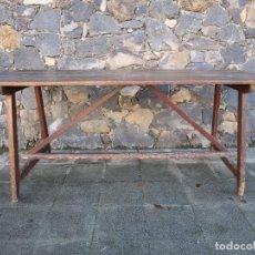 Antigüedades: ANTIGUA MESA RÚSTICA CATALANA - MADERA DE PINO - LARGO 186 CM, ANCHO 74 CM - S. XIX. Lote 186372648