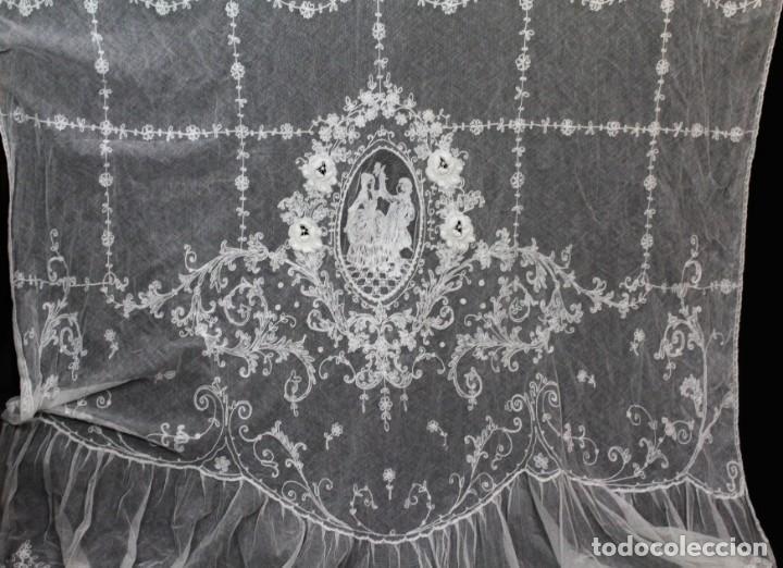 Antigüedades: t4 Preciosa cortina bordada a mano, realce, cadeneta, frivolité- Años 1900 - Foto 2 - 186377342