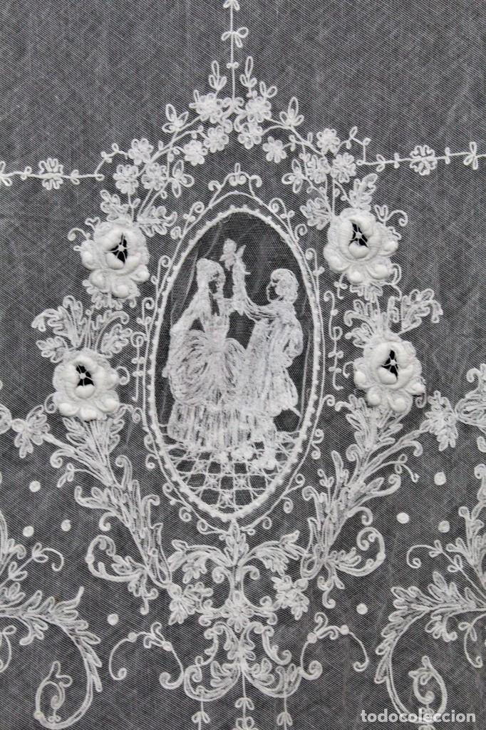 Antigüedades: t4 Preciosa cortina bordada a mano, realce, cadeneta, frivolité- Años 1900 - Foto 3 - 186377342