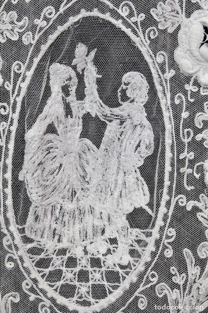 Antigüedades: t4 Preciosa cortina bordada a mano, realce, cadeneta, frivolité- Años 1900 - Foto 8 - 186377342