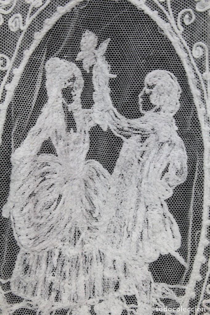 Antigüedades: t4 Preciosa cortina bordada a mano, realce, cadeneta, frivolité- Años 1900 - Foto 10 - 186377342