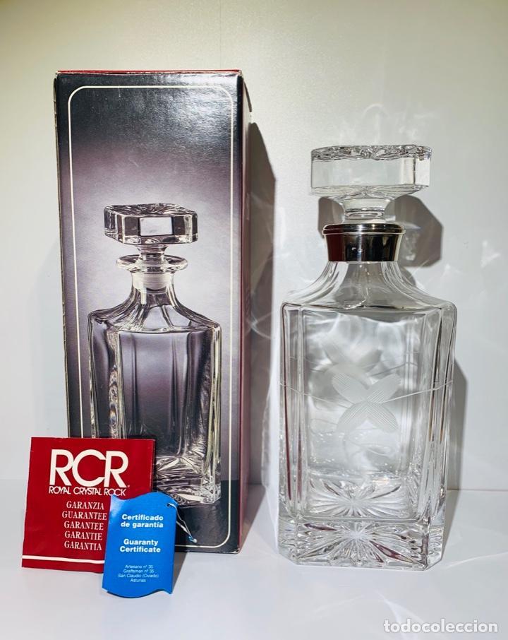 BOTELLA / DECANTADOR / LICORERA WHISKY 75CL. ROYAL CRISTAL ROCK Y PLATA. SIENA. '70S. IMPECABLE. (Antigüedades - Cristal y Vidrio - Italiano)