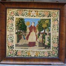 Antigüedades: BORDADO DE SAN RAMON NONATO, 1854, CON MARCO DE ÉPOCA CURVADO Y DE CAOBA. 77,5X71,5CM. Lote 186391576