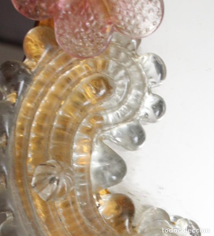 Antigüedades: Espejo veneciano, cristal de Murano trabajado a la pinza. Para colgar o como espejo de tocador. - Foto 8 - 186393163