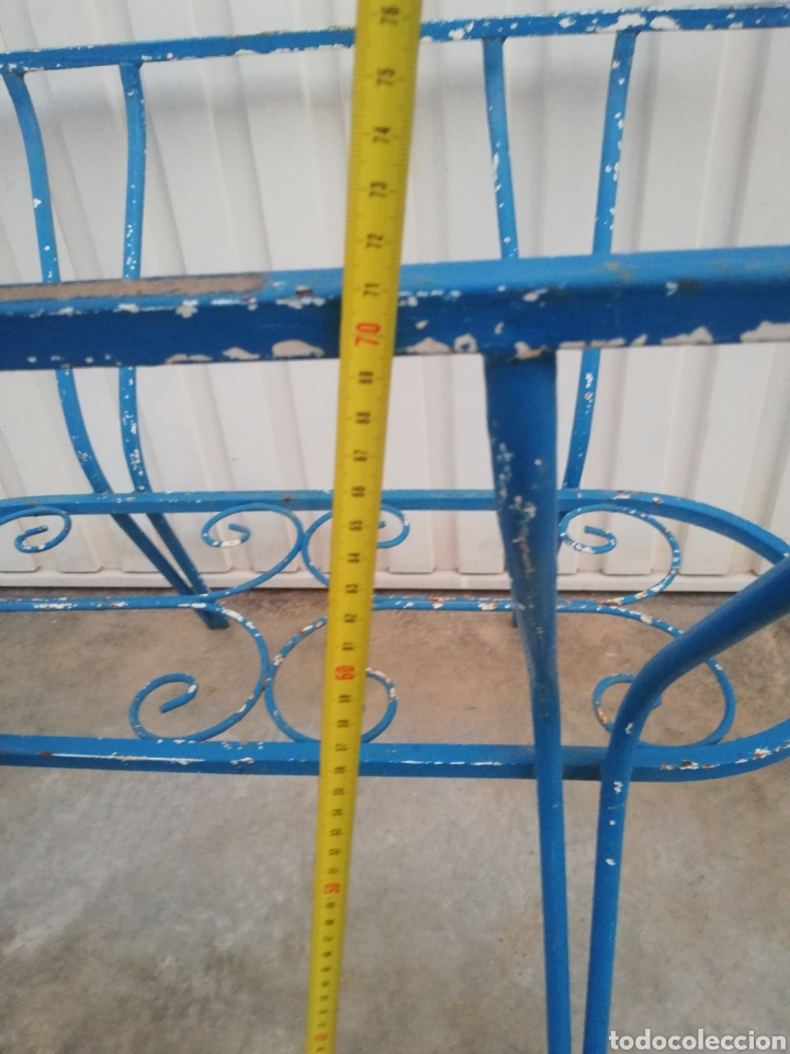 Antigüedades: Espectacular mesa antigua de hierro forjado para jardin o terraza vintage años 60 - Foto 8 - 186404610