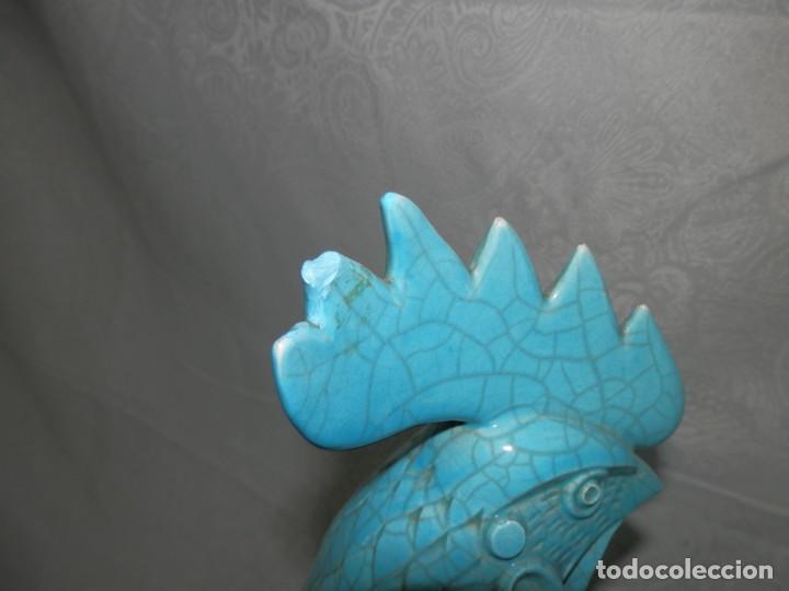 Antigüedades: GALLOS CERAMICA ESMALTADA AZUL TURQUESA, ALGORA, 44 CM - Foto 24 - 186458762