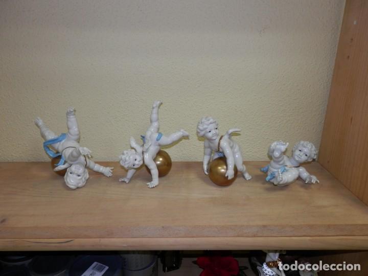 Antigüedades: ALGORA, 4 ANGELES, ANGELITOS, QUERUBINES, PORCELANA, ENTRE 15 Y 17 CM APROX. - Foto 3 - 186459105