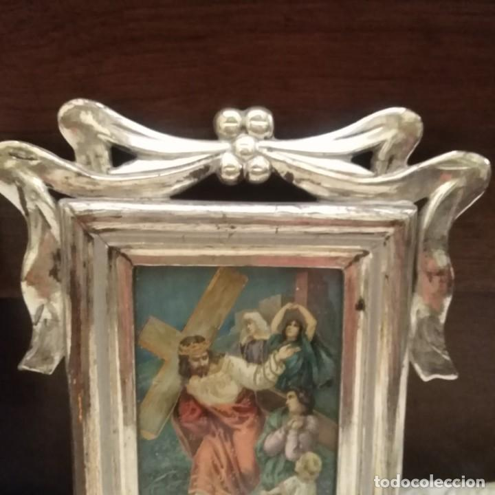 Antigüedades: Antiguo viacrucis con marco de plata corleada y litografía iluminada siglo xix - Foto 3 - 183519570