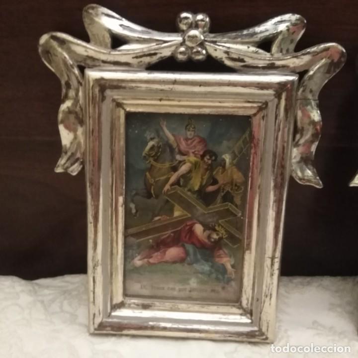 Antigüedades: Antiguo viacrucis con marco de plata corleada y litografía iluminada siglo xix - Foto 5 - 183519570