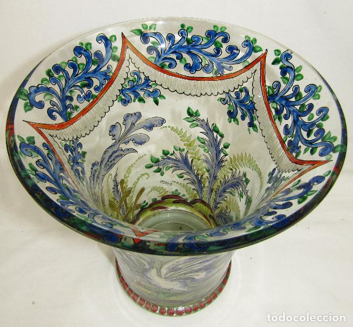 Antigüedades: JARRON VIDRIO PINTADO FIRMADO CIRERA - Foto 2 - 186528288