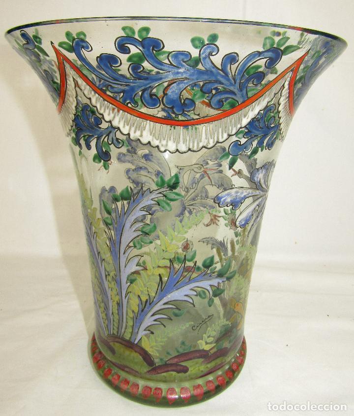 Antigüedades: JARRON VIDRIO PINTADO FIRMADO CIRERA - Foto 4 - 186528288