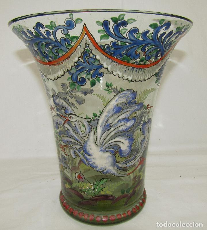 JARRON VIDRIO PINTADO FIRMADO CIRERA (Antigüedades - Cristal y Vidrio - Catalán)