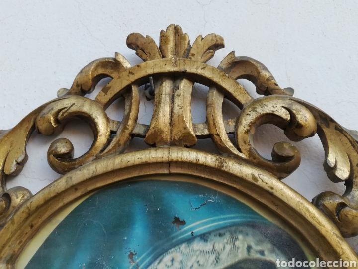 Antigüedades: Muy antiguo marco cornucopia en madera tallada y pan de oro con imagen religiosa hecho a mano - Foto 2 - 186546831