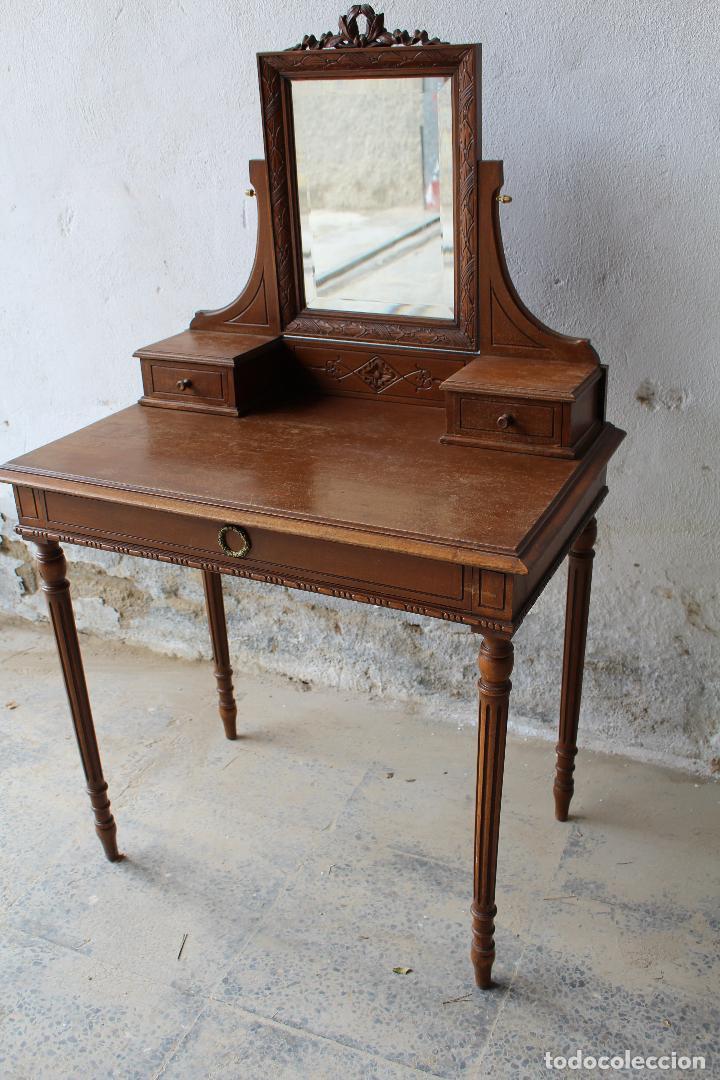 Antigüedades: mueble tocador en madera con espejo - Foto 2 - 187144848