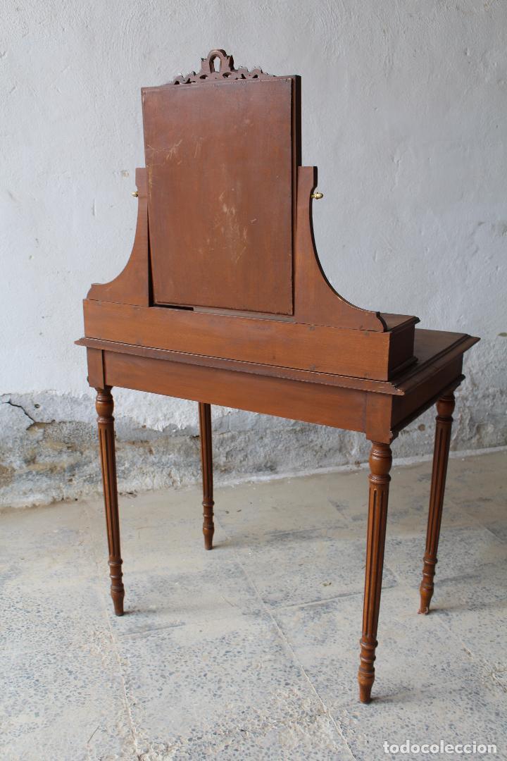 Antigüedades: mueble tocador en madera con espejo - Foto 3 - 187144848