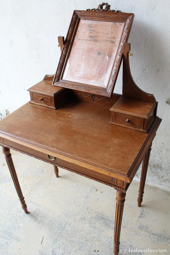Antigüedades: mueble tocador en madera con espejo - Foto 4 - 187144848