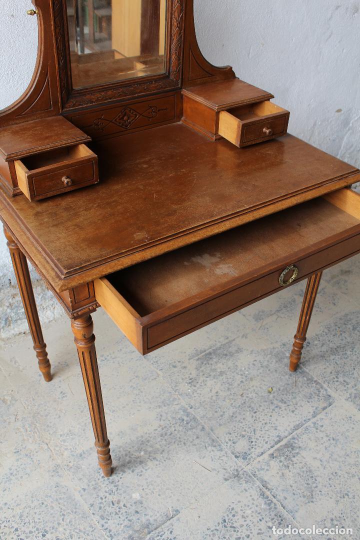 Antigüedades: mueble tocador en madera con espejo - Foto 5 - 187144848