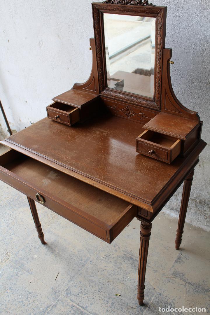 Antigüedades: mueble tocador en madera con espejo - Foto 6 - 187144848