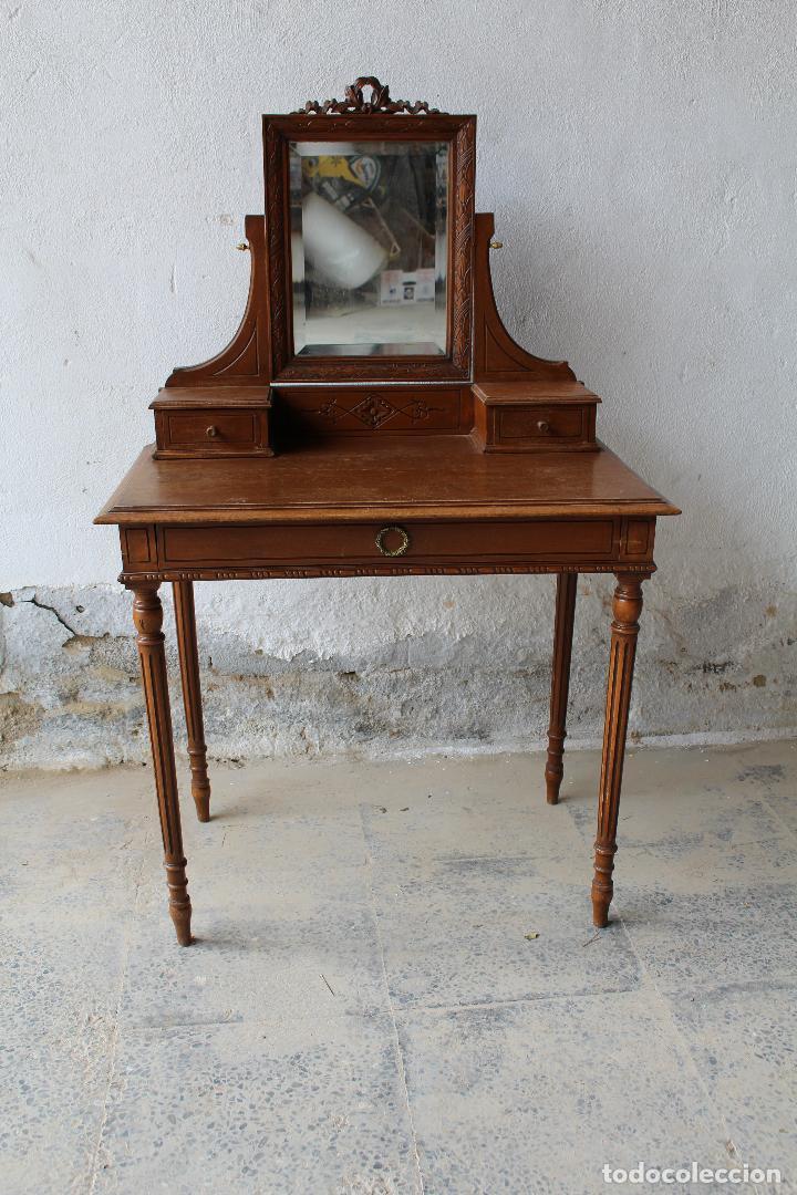 Antigüedades: mueble tocador en madera con espejo - Foto 7 - 187144848