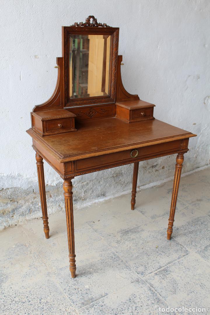 Antigüedades: mueble tocador en madera con espejo - Foto 8 - 187144848