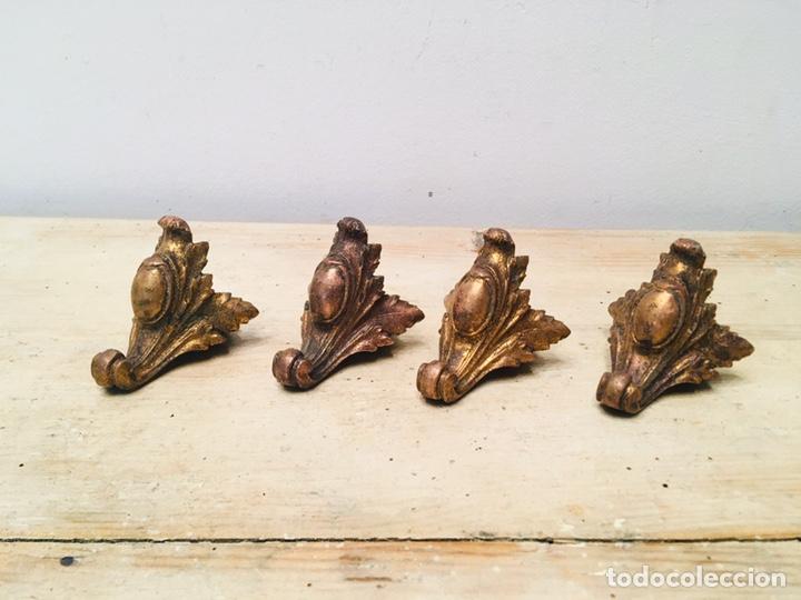 Antigüedades: ANTIGUAS PATAS DE RELOJ DE SOBREMESA ART NOUVEAU SOPORTE METAL DECORACIÓN FLORAL ADORNO ORNAMENTOS - Foto 2 - 187149096