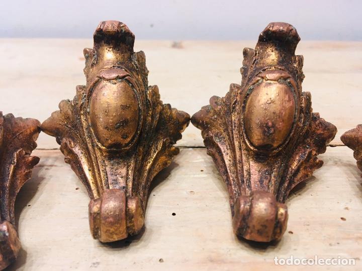 Antigüedades: ANTIGUAS PATAS DE RELOJ DE SOBREMESA ART NOUVEAU SOPORTE METAL DECORACIÓN FLORAL ADORNO ORNAMENTOS - Foto 3 - 187149096