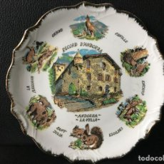 Antigüedades: PLATO DE ANDORRA LA VELLA, CON BORDE DORADO, ORDINO, CANILLO, ENCAMP, ESCALDES ETC. Lote 187153511