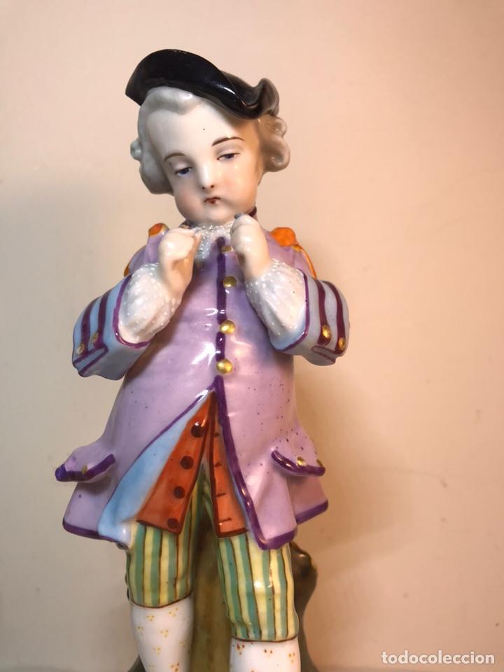 Antigüedades: 2 Figuras Porcelana-Francia-Viejo Paris- Violeteros- 21 cm - Foto 3 - 187184827