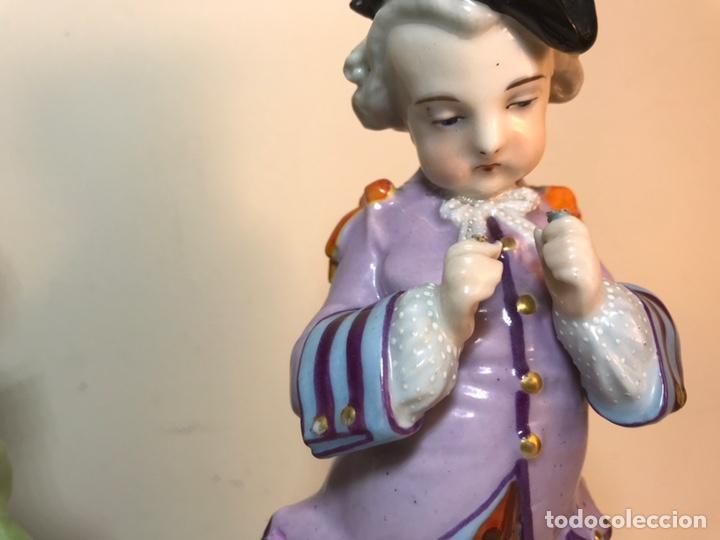 Antigüedades: 2 Figuras Porcelana-Francia-Viejo Paris- Violeteros- 21 cm - Foto 11 - 187184827