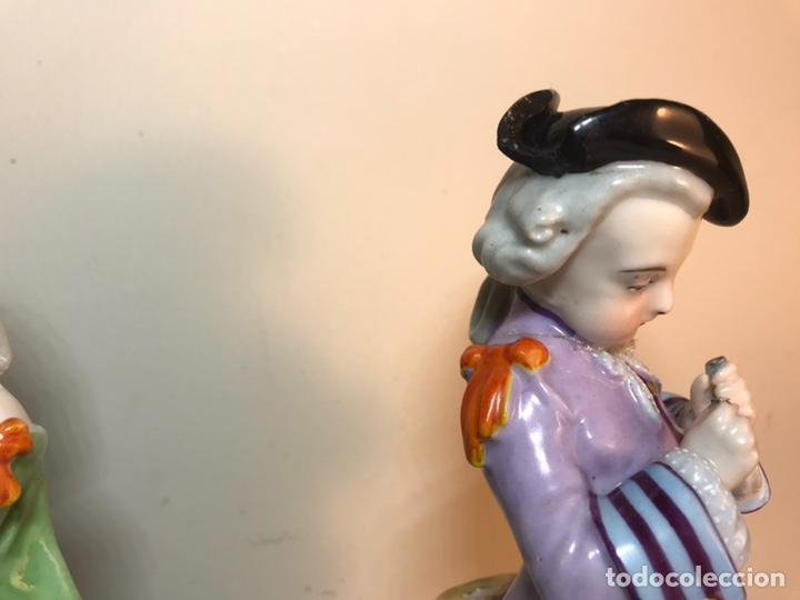 Antigüedades: 2 Figuras Porcelana-Francia-Viejo Paris- Violeteros- 21 cm - Foto 15 - 187184827