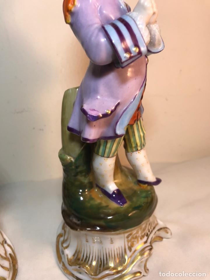 Antigüedades: 2 Figuras Porcelana-Francia-Viejo Paris- Violeteros- 21 cm - Foto 16 - 187184827