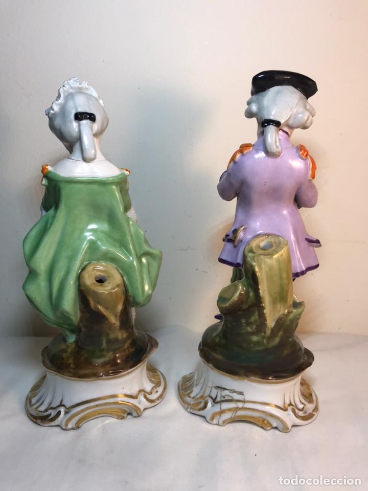 Antigüedades: 2 Figuras Porcelana-Francia-Viejo Paris- Violeteros- 21 cm - Foto 23 - 187184827