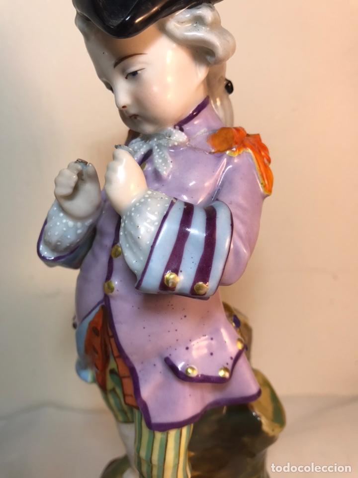 Antigüedades: 2 Figuras Porcelana-Francia-Viejo Paris- Violeteros- 21 cm - Foto 34 - 187184827