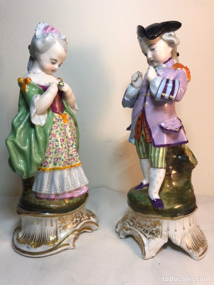 Antigüedades: 2 Figuras Porcelana-Francia-Viejo Paris- Violeteros- 21 cm - Foto 35 - 187184827