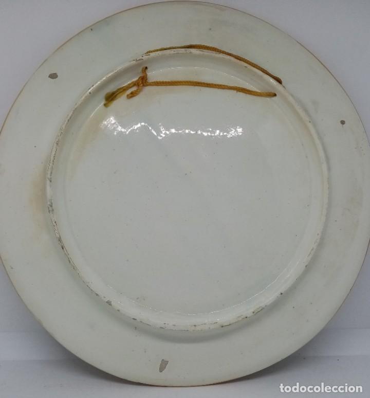 Antigüedades: GRAN PLATO CERAMICA TALAVERA MOTIVO CAZA (S XIX) - Foto 4 - 187188241