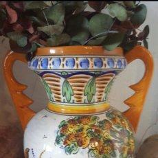 Antigüedades: JARRÓN EN CERÁMICA VIDRIADA AL FUEGO Y PINTADO A MANO. Lote 187191388