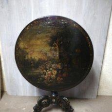 Antigüedades: MESA POLICROMADA ISABELINA ABATIBLE S.XIX. Lote 187191551