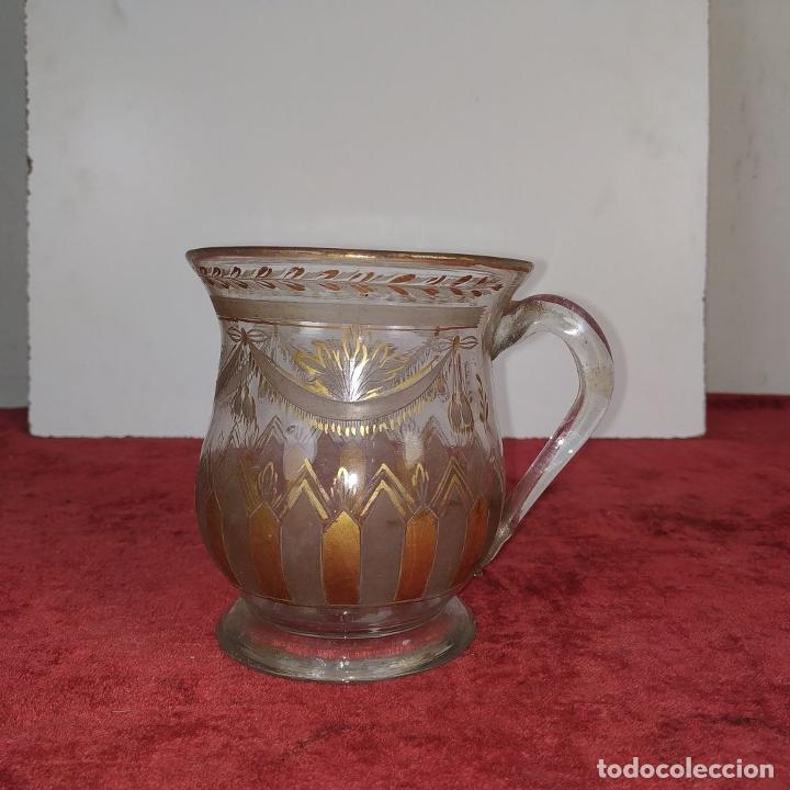 Antigüedades: TAZA. CRISTAL DE LA GRANJA. ESMALTE EN ORO. GRABADO AL ACIDO. ESPAÑA. SIGLO XVIII - Foto 2 - 187309627